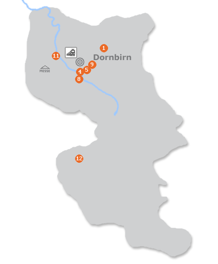 Karte mit Pensionen und anderen Unterkünften in Dornbirn