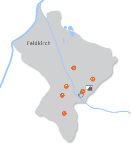 Karte mit Pensionen und anderen Unterk�nften in Feldkirch