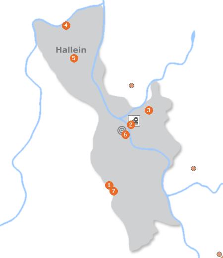 Karte mit Pensionen und anderen Unterkünften in Hallein