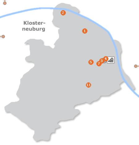 Karte mit Pensionen und anderen Unterkünften in Klosterneuburg