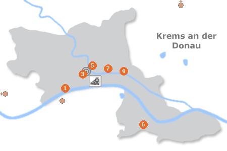 Karte mit Pensionen und anderen Unterkünften in Krems an der Donau