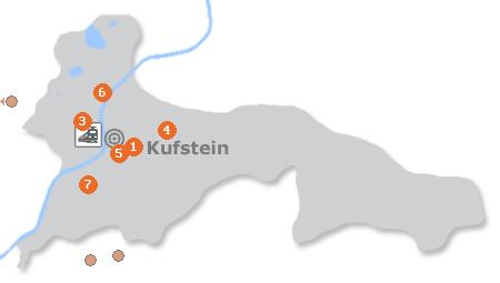 Karte mit Pensionen und anderen Unterkünften in Kufstein