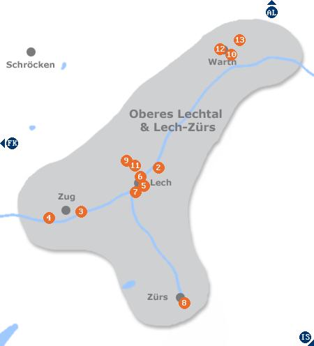 Karte mit Pensionen und anderen Unterkünften im Lechtal bei Lech-Zürs