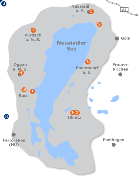Karte mit Pensionen und anderen Unterk�nften im Gebiet Neusiedler See