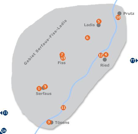 Karte mit Pensionen und anderen Unterkünften im Gebiet Serfaus-Fiss-Ladis