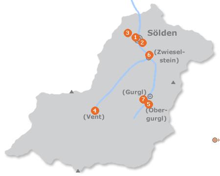 Karte mit Pensionen und anderen Unterk�nften in S�lden
