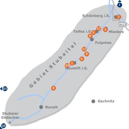 Karte mit Pensionen und anderen Unterk�nften im Stubaital