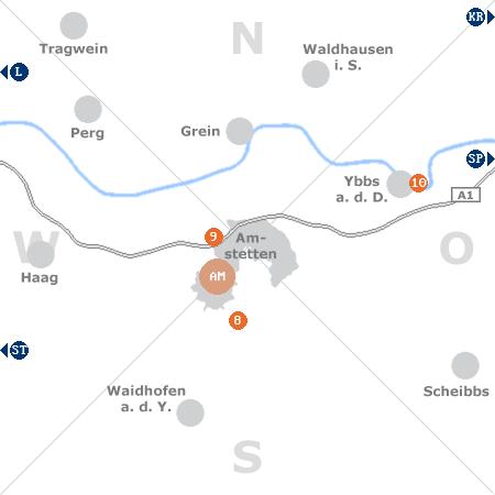 Karte mit Pensionen und anderen Unterk�nften rund um Amstetten
