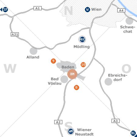 Karte mit Pensionen und anderen Unterkünften rund um Baden