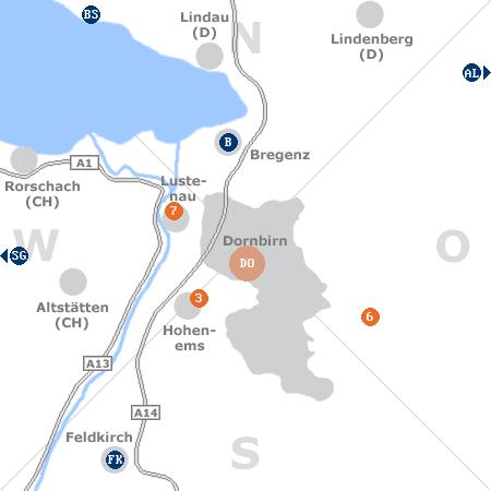 Karte mit Pensionen und anderen Unterk�nften rund um Dornbirn