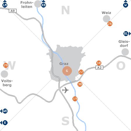 Karte mit Pensionen und anderen Unterk�nften rund um Graz