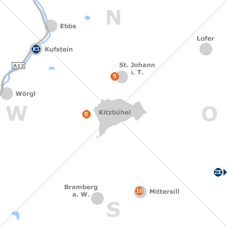 Karte mit Pensionen und anderen Unterkünften rund um Kitzbühel
