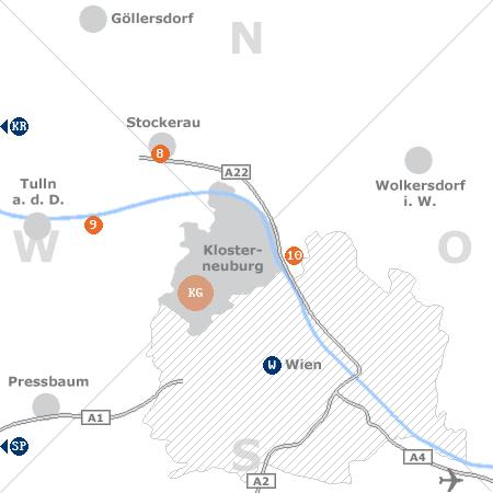 Karte mit Pensionen und anderen Unterkünften rund um Klosterneuburg