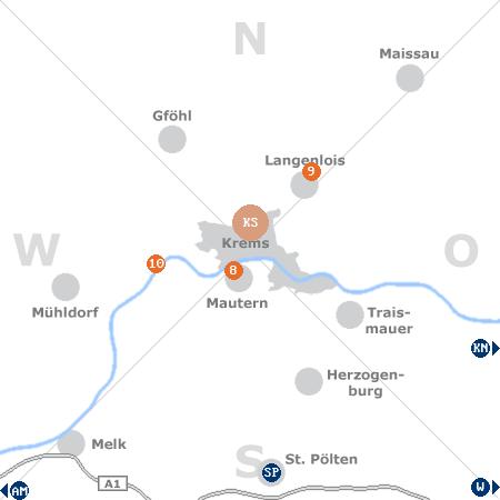 Karte mit Pensionen und anderen Unterkünften rund um Krems an der Donau
