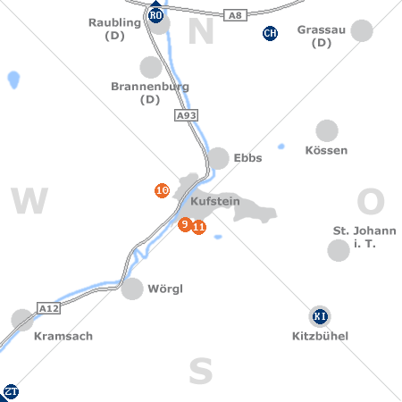 Karte mit Pensionen und anderen Unterkünften rund um Kufstein