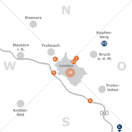 Karte mit Pensionen und anderen Unterkünften rund um Leoben