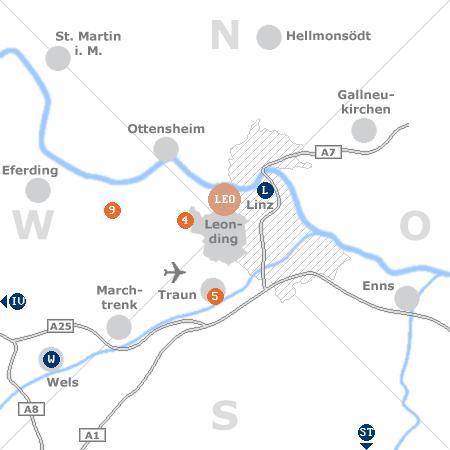 Karte mit Pensionen und anderen Unterkünften rund um Leonding