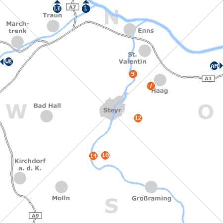 Karte mit Pensionen und anderen Unterkünften rund um Steyr