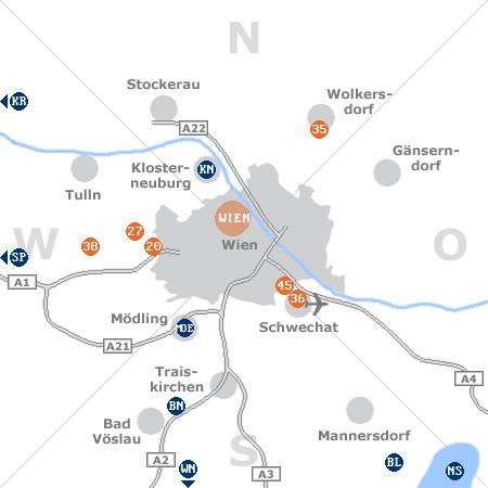 Karte mit Pensionen und anderen Unterkünften rund um Wien