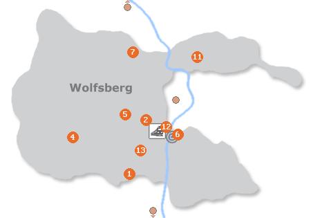 Karte mit Pensionen und anderen Unterk�nften in Wolfsberg