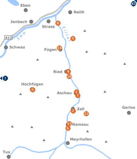 Karte mit Pensionen und anderen Unterk�nften im Zillertal