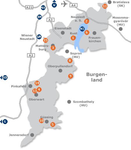 Karte mit Pensionen und anderen Unterkünften im Burgenland