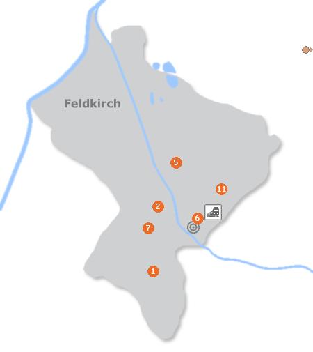 Karte mit Pensionen und anderen Unterkünften in Feldkirch