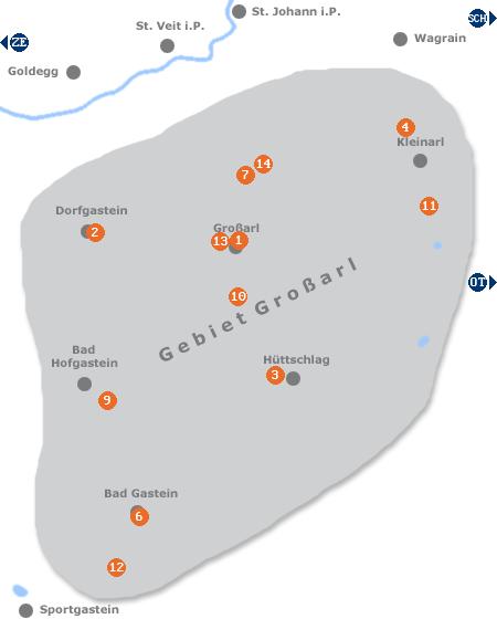 Karte mit Pensionen und anderen Unterkünften im Gebiet rund um Großarl