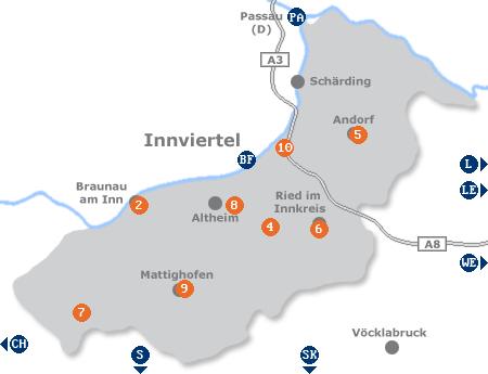 Karte mit Pensionen und anderen Unterkünften im Innviertel