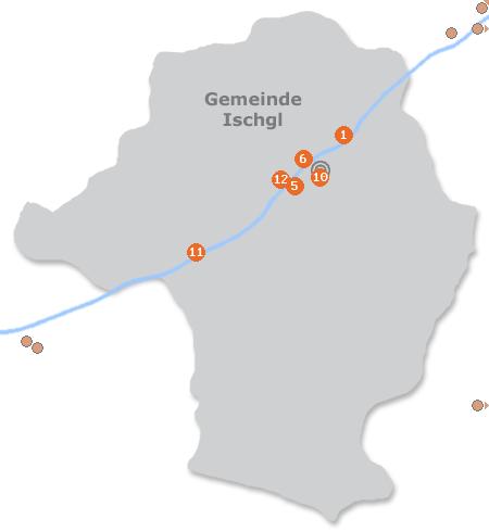 Karte mit Pensionen und anderen Unterkünften in Ischgl