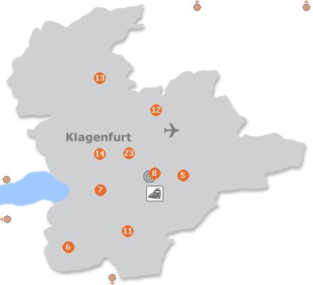 Karte mit Pensionen und anderen Unterkünften in Klagenfurt
