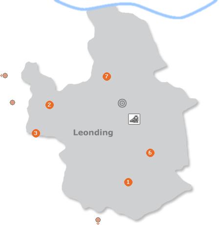 Karte mit Pensionen und anderen Unterkünften in Leonding