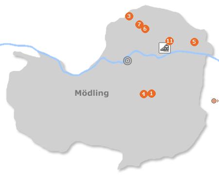 Karte mit Pensionen und anderen Unterkünften in Mödling