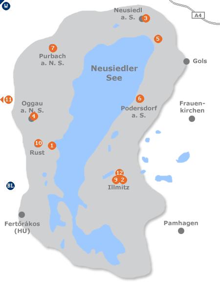 Karte mit Pensionen und anderen Unterkünften im Gebiet Neusiedler See