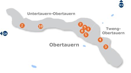 Karte mit Pensionen und anderen Unterkünften in Obertauern