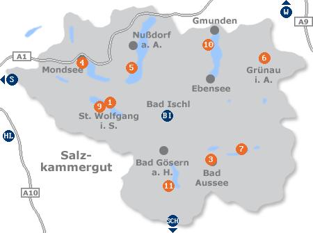 Karte mit Pensionen und anderen Unterkünften im Salzkammergut