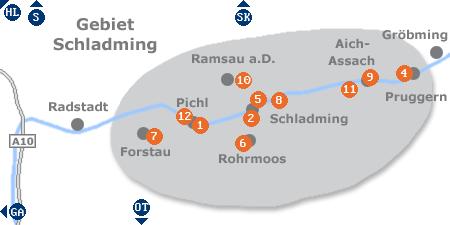Karte mit Pensionen und anderen Unterkünften im Gebiet um Schladming