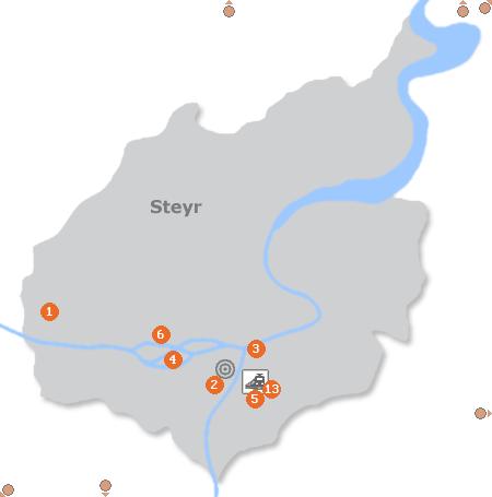 Karte mit Pensionen und anderen Unterkünften in Steyr