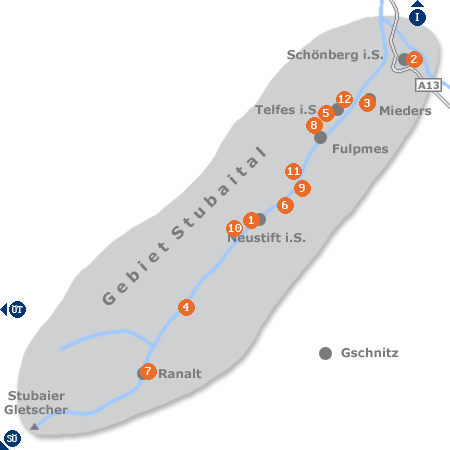 Karte mit Pensionen und anderen Unterkünften im Stubaital