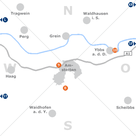 Karte mit Pensionen und anderen Unterkünften rund um Amstetten