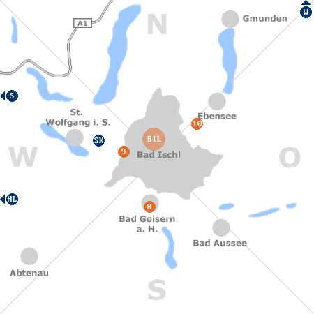 Karte mit Pensionen und anderen Unterkünften rund um Bad Ischl