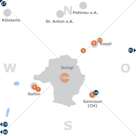 Karte mit Pensionen und anderen Unterkünften rund um Ischgl