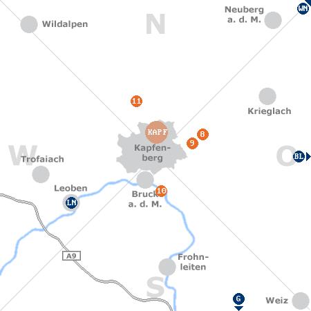 Karte mit Pensionen und anderen Unterkünften rund um Kapfenberg