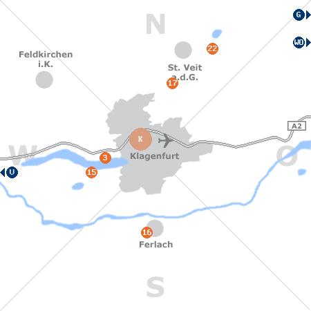 Karte mit Pensionen und anderen Unterkünften rund um Klagenfurt