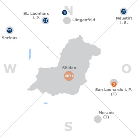 Karte mit Pensionen und anderen Unterkünften rund um Sölden