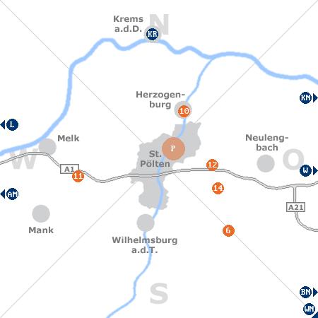 Karte mit Pensionen und anderen Unterkünften rund um St. Pölten