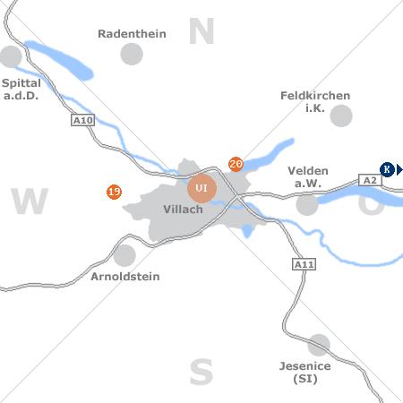 Karte mit Pensionen und anderen Unterkünften rund um Villach