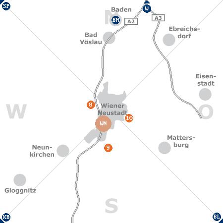Karte mit Pensionen und anderen Unterkünften rund um Wiener Neustadt