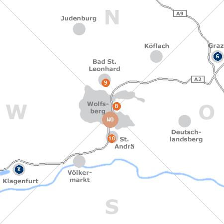 Karte mit Pensionen und anderen Unterkünften rund um Wolfsberg