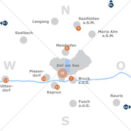 Karte mit Pensionen und anderen Unterkünften rund um Zell am See